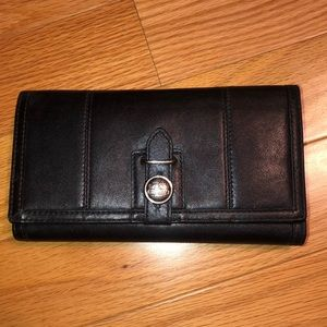 Black Coach wallet with checkbook insert